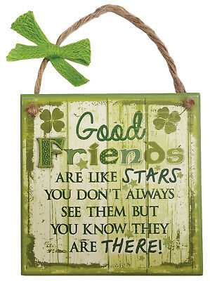 Rustic Ireland 'Good Friends' Wooden Plaque With A Green & White Design