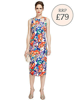 Brand New Ex Marks And Spencer Black Floral Jacquard Shift Dress RRP £42