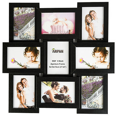 Multi Collage Photo Picture Frame 6x4'' 9 Aperture Wall Frame - Black CL-1015BK9