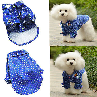 Unisex Summer Pet Clothes Puppy Dog Cat Blue Vest T-Shirt Coat Apparel Costumes