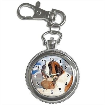 Gentle St Bernard Pocket Watch Keychain - Puppy Dog