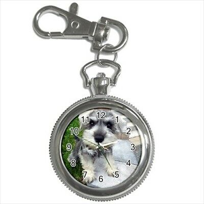 Miniature Schnauzer Pocket Watch Keychain - Puppy Dog