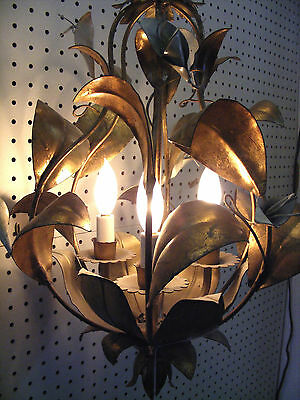 PAIR 1960's Italian Gilt Gold Flore Leafy Tole Chandeliers 3-Light Lillies Swags