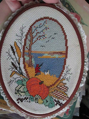 The Four Seasons Finished Cross Stitch Oval Pictures-5.5x7.5 Inches Framed In Pl