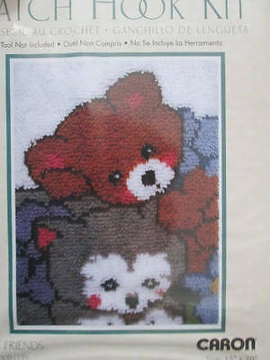 Caron WonderArt Latch Hook Kit Furry Friends 15x20 Inches-Teddy Bear & Cat
