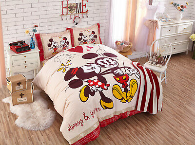 Disney Licensed Minnie Mickey Twin Full Queen Size 7-Piece Comforter In A Bag