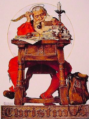 Norman Rockwell Santa Reading Mail Vintage Americana Art Poster