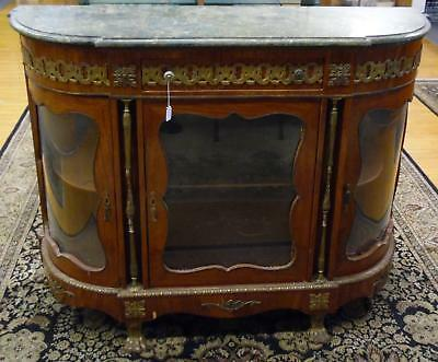 Antique Eqypt Green Marble Top Claw Foot Buffet Server China Cabinet