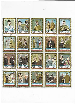 Fujeira (UAE) Sheet of Topical Stamps of  Famous People (lot 1)