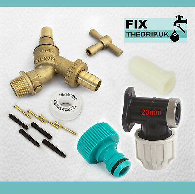 20mm MDPE Outside Tap Kit With Wall Plate & Garden Hose Fitting DCV Anti Vandle