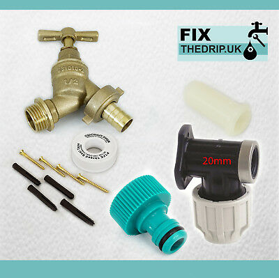 20mm MDPE Outside Tap Kit With Plastic Wall Plate & Garden Hose Fitting [NAZ]