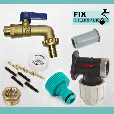 25mm MDPE Outside Tap Kit With Plastic Wall Plate & Garden Hose Fitting  lever
