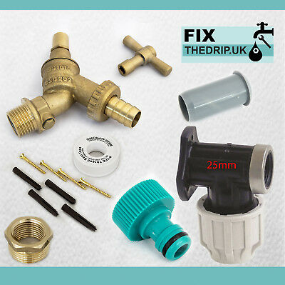 25mm MDPE Outside Tap Kit With Wall Plate & Garden Hose Fitting DCV Anti Vandle