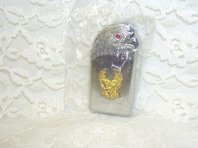 Eagle Cigarette Lighter Silver Gold And Red Gem Eye