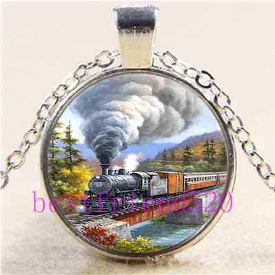 Retro Steam Train Cabochon Glass Tibet Silver Chain Pendant Necklace