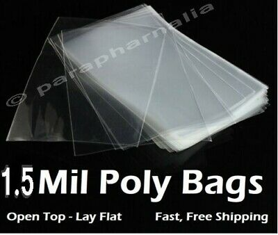 Clear Plastic Flat Poly Bags Open Top Display Packaging 1.5 Mil -Multiple Sizes
