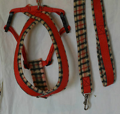 Fleece Lined Dog Harness, Tan Check, Red Webbing - Matching Leads  Available