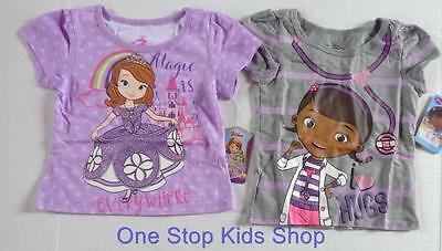 SOFIA THE FIRST or DOC MCSTUFFINS Girls 2T 3T 4T Short Sleeve SHIRT Top Disney