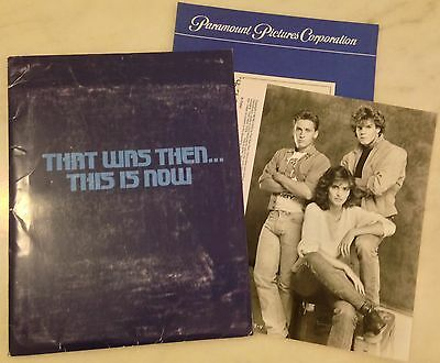 THAT WAS THEN ... THIS IS NOW (1985) Press Kit Folder, Photos, Book; S.E. Hinton