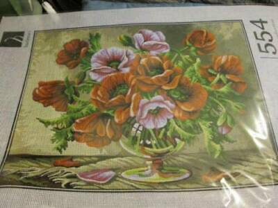 Hudemas Vases Needlepoint Canvas Your Choice- Poppies/Lilacs OR With Fruit- 30x4