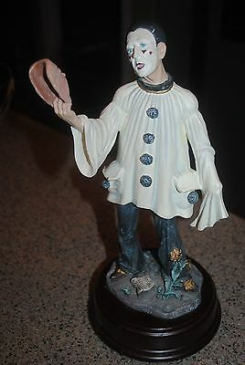 Pierrot musical figurine, Duncan Royale, clown holding mask, limited 1st edition
