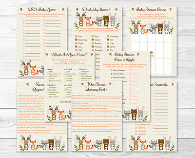 Woodland Animals Baby Shower Games Pack - 8 Printable Games