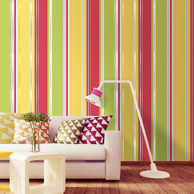 Salsa Stripe Red Yellow Silver Lime White Stripe Quality Feature Wallpaper M0942