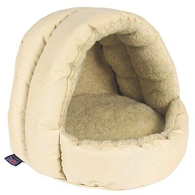 P&L Superior Pet Beds Sherpa Fleece Lined Hooded Cat Beds 38 X 36 X 33 Cm Cream