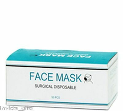 *New* 1x box of 50 Invicta Gifts Premium Surgical Face Mask White *Free Post