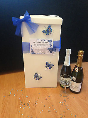 Personalised Wedding Card Post Box - Blue Butterflies