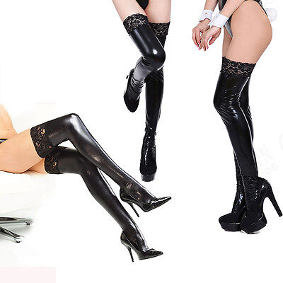 Black Sexy Lady Lace Top Stockings Hold-ups Wet Look Faux Leather Bdsm Fetish cn