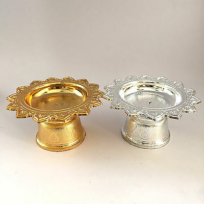 2xSmall Thai Tradition Amulet Silver-Gold Plastic Phan Tray-Altar-Buddha-Amulet