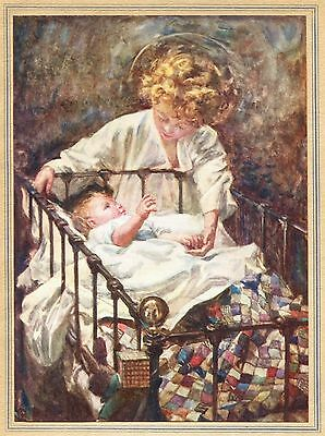Baby in Crib watched over by Christ Child w Halo M E Gray 1915 vintage art print