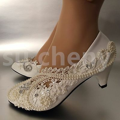 """2"""" low heel White ivory pearls lace crystal Wedding shoes Bridal women size 5-12"""