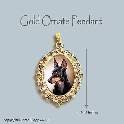 Toy Manchester Terrier Dog -  Ornate Gold Pendant Necklace