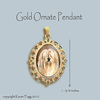 Tibetan Terrier Dog - Ornate Gold Pendant Necklace