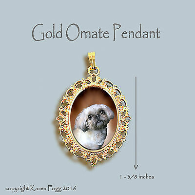 Shih Tzu Lhasa Apso Dog - Ornate Gold Pendant Necklace
