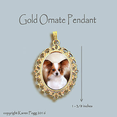 PAPILLION DOG Red White - ORNATE GOLD PENDANT NECKLACE