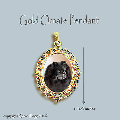 CHOW CHOW DOG Black - ORNATE GOLD PENDANT NECKLACE