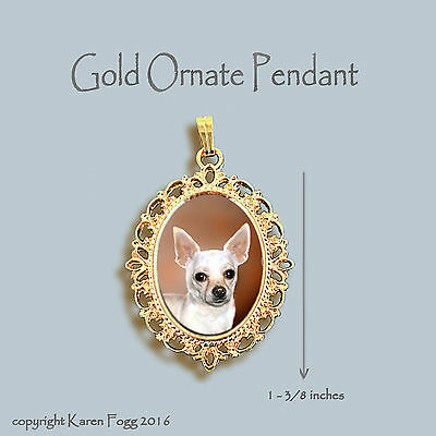 CHIHUAHUA DOG Smooth White - ORNATE GOLD PENDANT NECKLACE