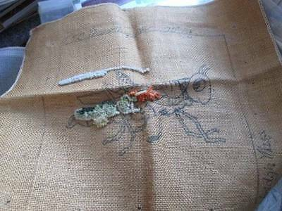 Grasshopper McGown Burlap Rug Hooking Canvas, Partially Started 10x10 Inches