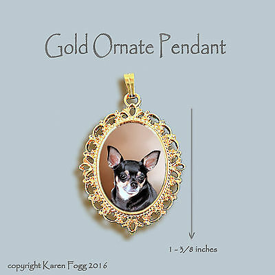 CHIHUAHUA DOG Smooth Tri Black and Tan - ORNATE GOLD PENDANT NECKLACE