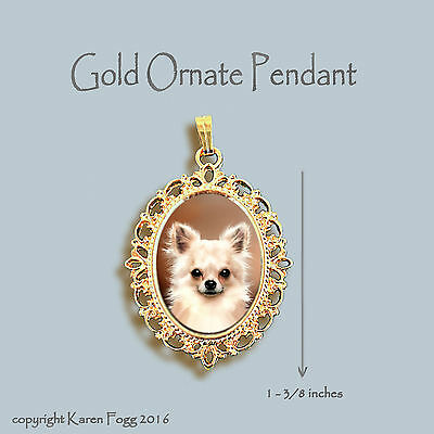 CHIHUAHUA DOG Longhair Fawn -  ORNATE GOLD PENDANT NECKLACE