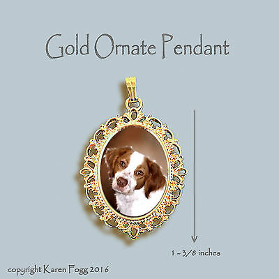 Brittany Spaniel Dog - Ornate Gold Pendant Necklace
