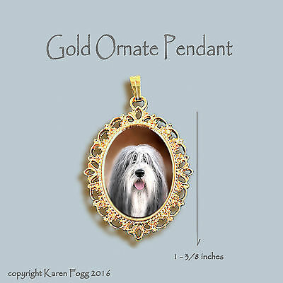 Bearded Collie Dog - Ornate Gold Pendant Necklace
