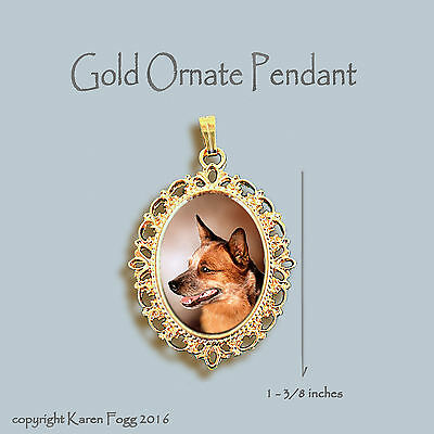 AUSTRALIAN CATTLE DOG Red - ORNATE GOLD PENDANT NECKLACE