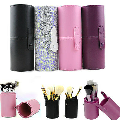Leather Cosmetic Cup Case Makeup Brush Pen Holder Empty Storage Box Organizer #5