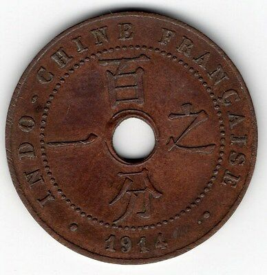 1914A (Paris) French Indo-China - Bronze 1 Cent - * Uncirculated Condition *