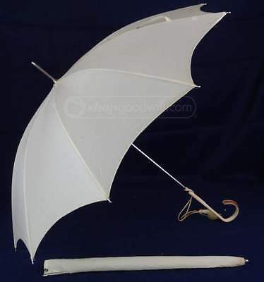 Antique Victorian style leather handle Ivory Parasol Umbrella with cover