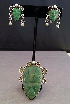 Signed Mexico Sterling & Carved Green Onyx Mask Pin/Brooch & Matching Earrings